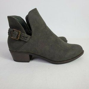 Just Fab Women's Faux Suede Green Ankle Booties